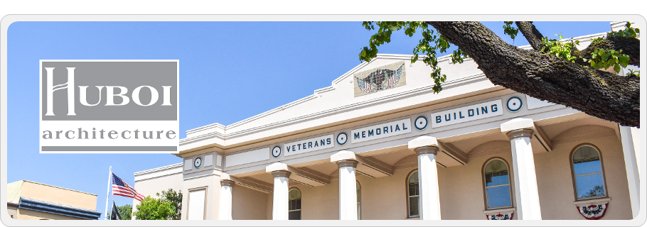 Photo of Veterans building with Huboi logo